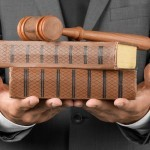 Person holding law school books with gavel.