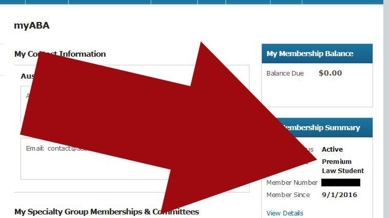 Confirm Premium ABA Law Student Premium status in myABA.