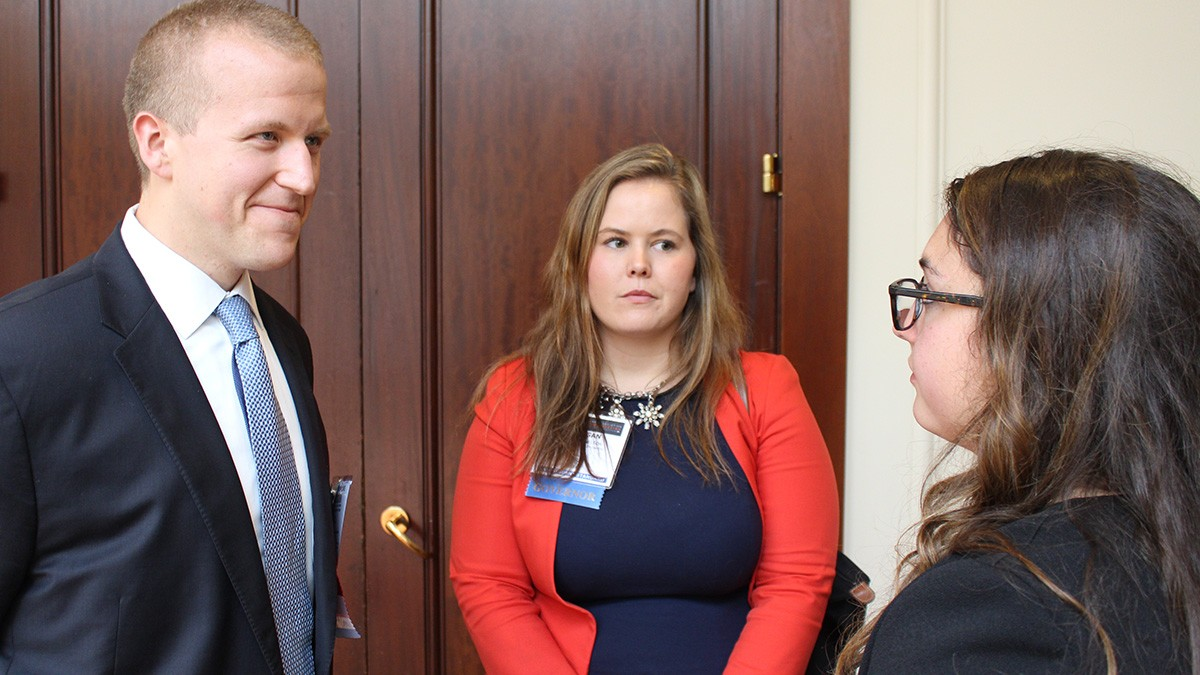 Chris Jennison and Josephine Bahn (right) talk with Circuit Governor Morgan Nelson at the 2016 ABA Law Student Division Annual Meeting in San Francisco.