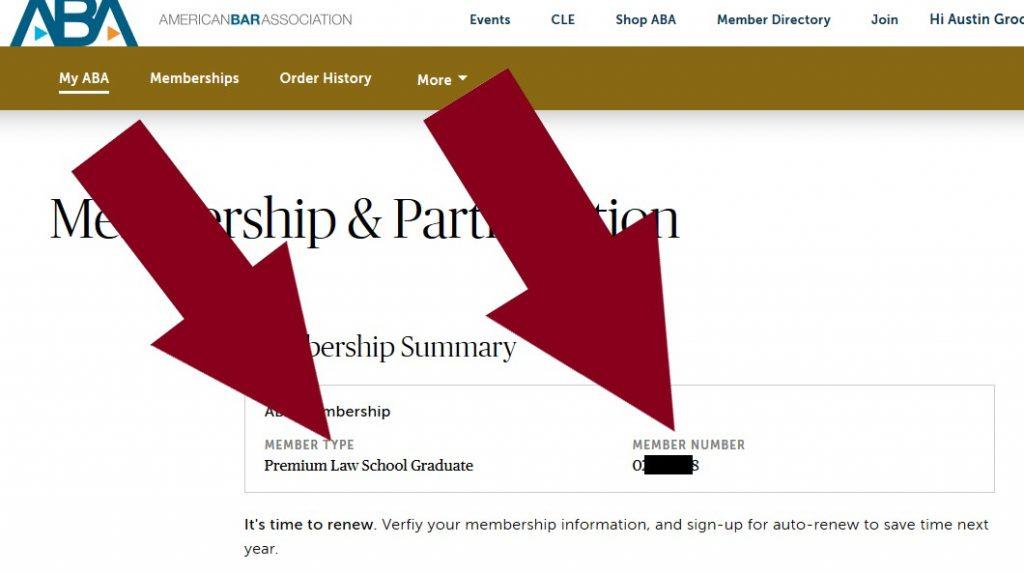 Screenshot - ABA Law Student Premium Status and ABA Member Number